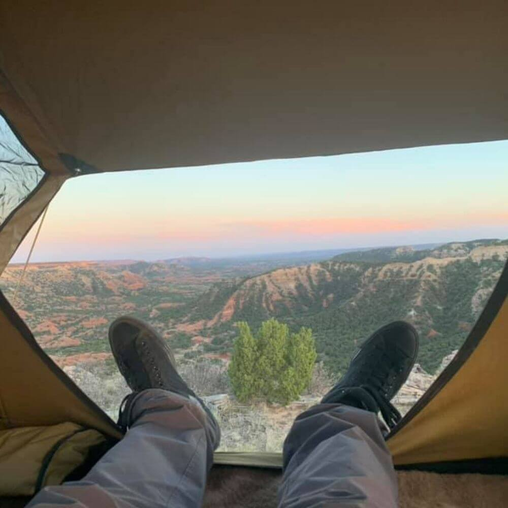 Great view with legs in picture of Palo Duro Canyon